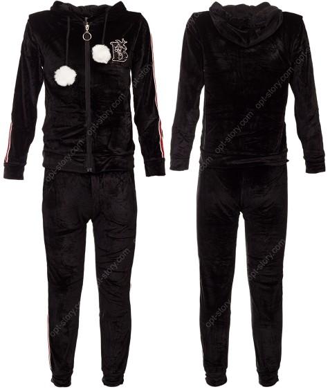 2758 черн. Спорт костюм девочка 8-16  по 5