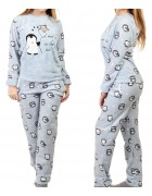 1140-3 св.голуб. Пижама женская+ носки,маска для сна S-XL по 4