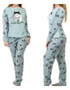 1141-2 голуб. Пижама женская+ носки,маска для сна S-XL по 4