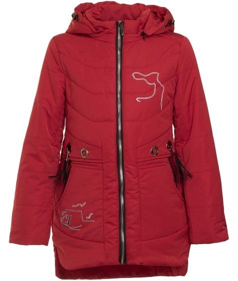 1706 красн.Куртка девочка 134-158 по 5 (128. 146)