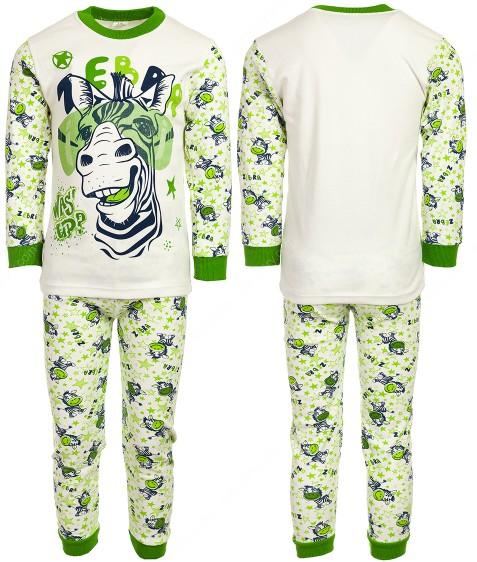 4870 зебра зел. Пижама для мальчика 4-6 лет по 3 шт