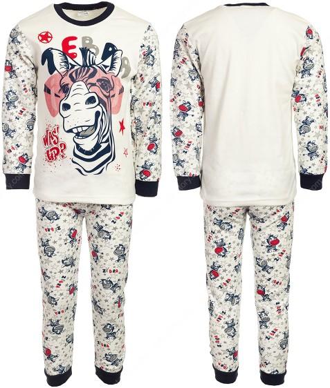 4870 зебра син. Пижама для мальчика 4-6 лет по 3 шт