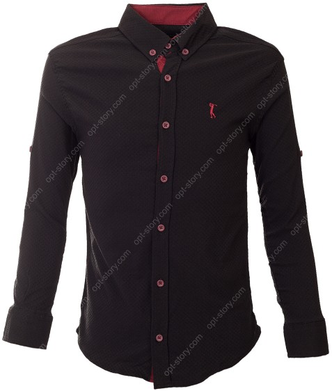 G-977 R11 чёрн Рубашка мальчик 9-15 по 7-8