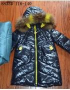 8833 чёрный Пальто девочка116-140
