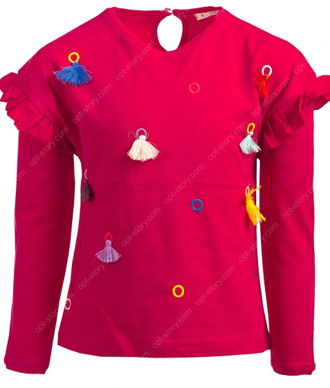 Реглан для девочки красный с бубонами 4-9 лет по 5  штук 70165
