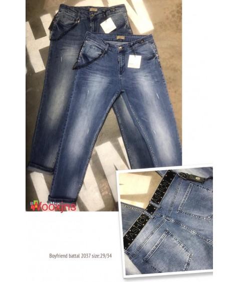 2037 blue brown fashion Джинсы женские 29-34 по 6