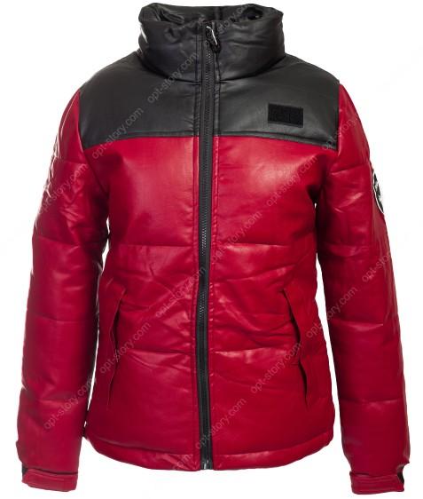 813 красн. Куртка женская эко-кожа(еврозима) M-2XL по 4