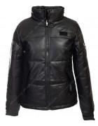 813 черн. Куртка женская эко-кожа(еврозима) M-2XL по 4