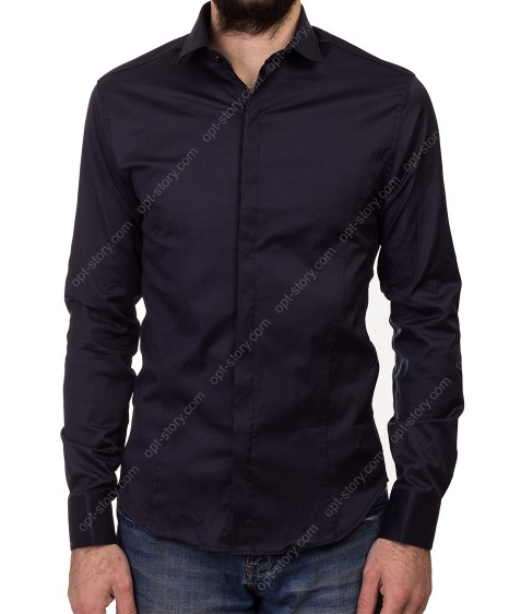 1212 d.blue Рубашка мужская дл.рукав S-2XL по 5