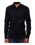 1212 black Рубашка мужская дл.рукав S-2XL  по 5