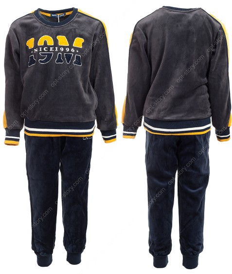 JF-1797 серый Спорт. костюм мальчик ВЕЛЮР 3-8 по 5