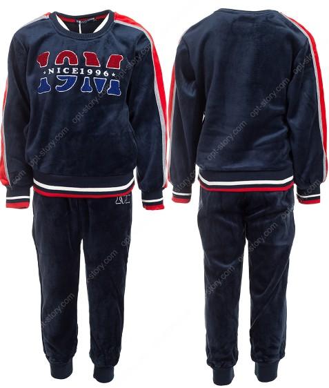 JF-1797 синий Спорт. костюм мальчик ВЕЛЮР 3-8 по 5