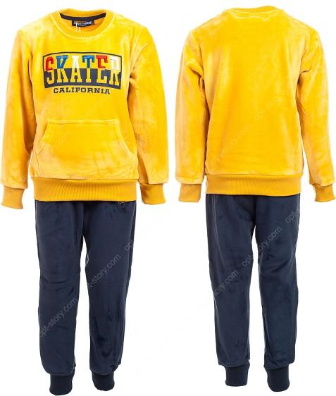 JF-1798 желтый Спорт. костюм мальчик ВЕЛЮР 3-8 по 5