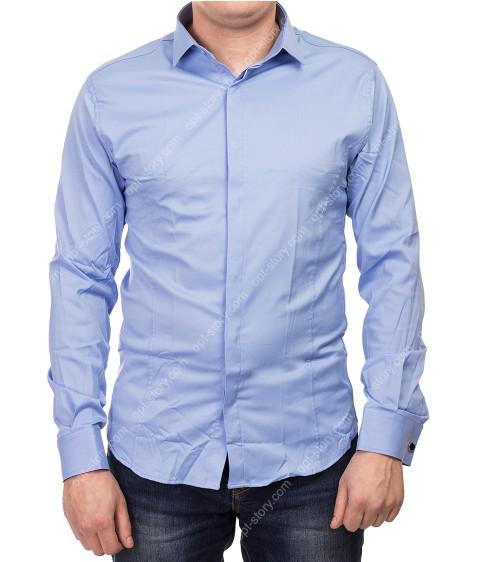 1212 blue Рубашка мужская дл.рукав S-2XL  по 5