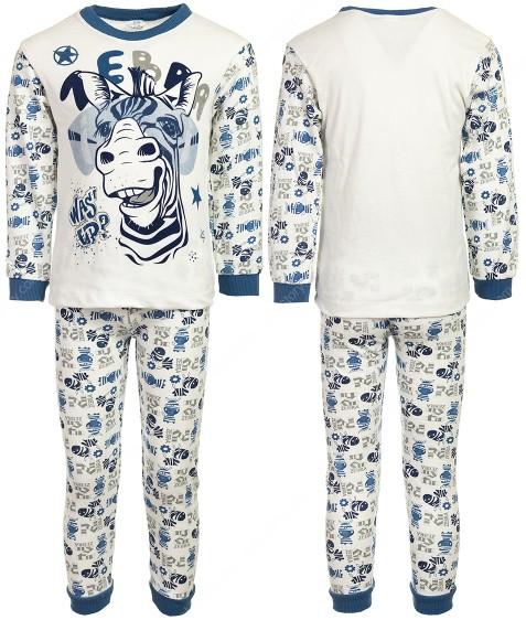 4870 зебра голуб. Пижама для мальчика 4-6 лет по 3 шт