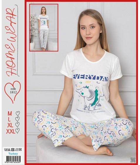 Home Wear Жен  компл (футб.+штаны) 1812 р. белый M-L-XL-2XL (4шт.), ш.к. 41613 (шт.)