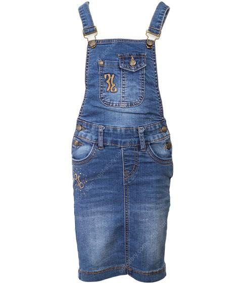 AK-114 Комбез юбка джинс. девочка 98-116 по 4