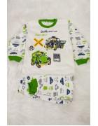 Пижама для мальчика зеленая 4-6 лет по 3 шт. арт. 3170