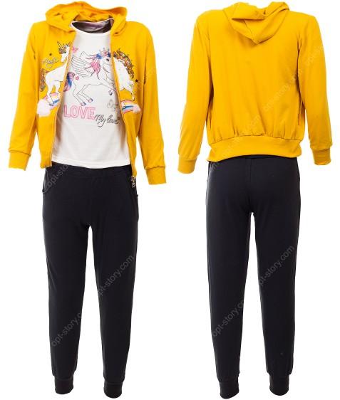 52494 желтый Спортивный костюм девочка 4-12 по 5