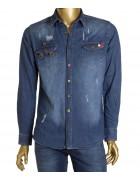 2625 тёмн.Рубашка джинс.мужская (дл.рукав) S-XL по 4