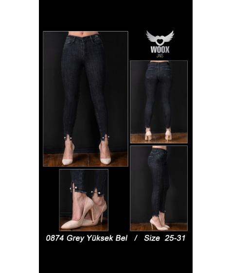 0874 grey Джинсы женские 25-31 по 7