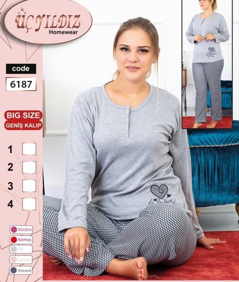 6187 серый Пижама женская батал XL-4XL по 4