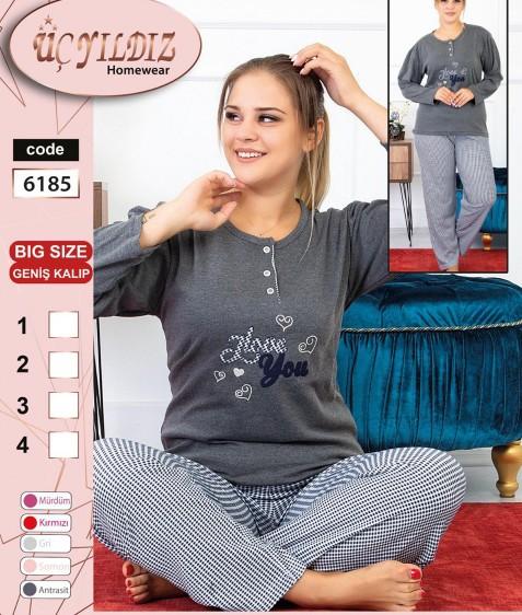 6185 серый Пижама женская батал XL-4XL по 4