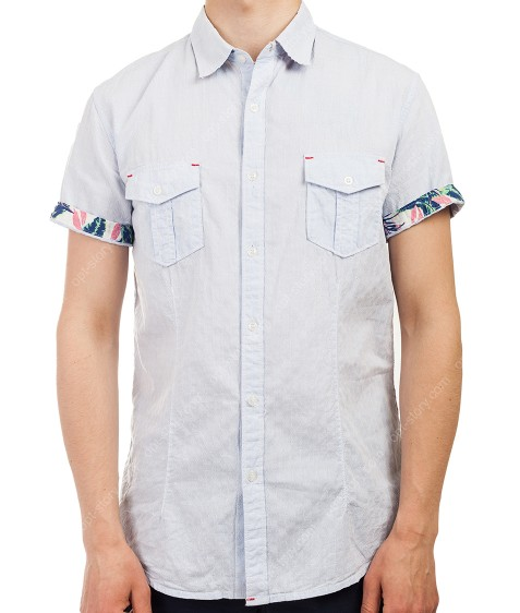 3666 голуб.  Рубашка мужская M-3XL по 5